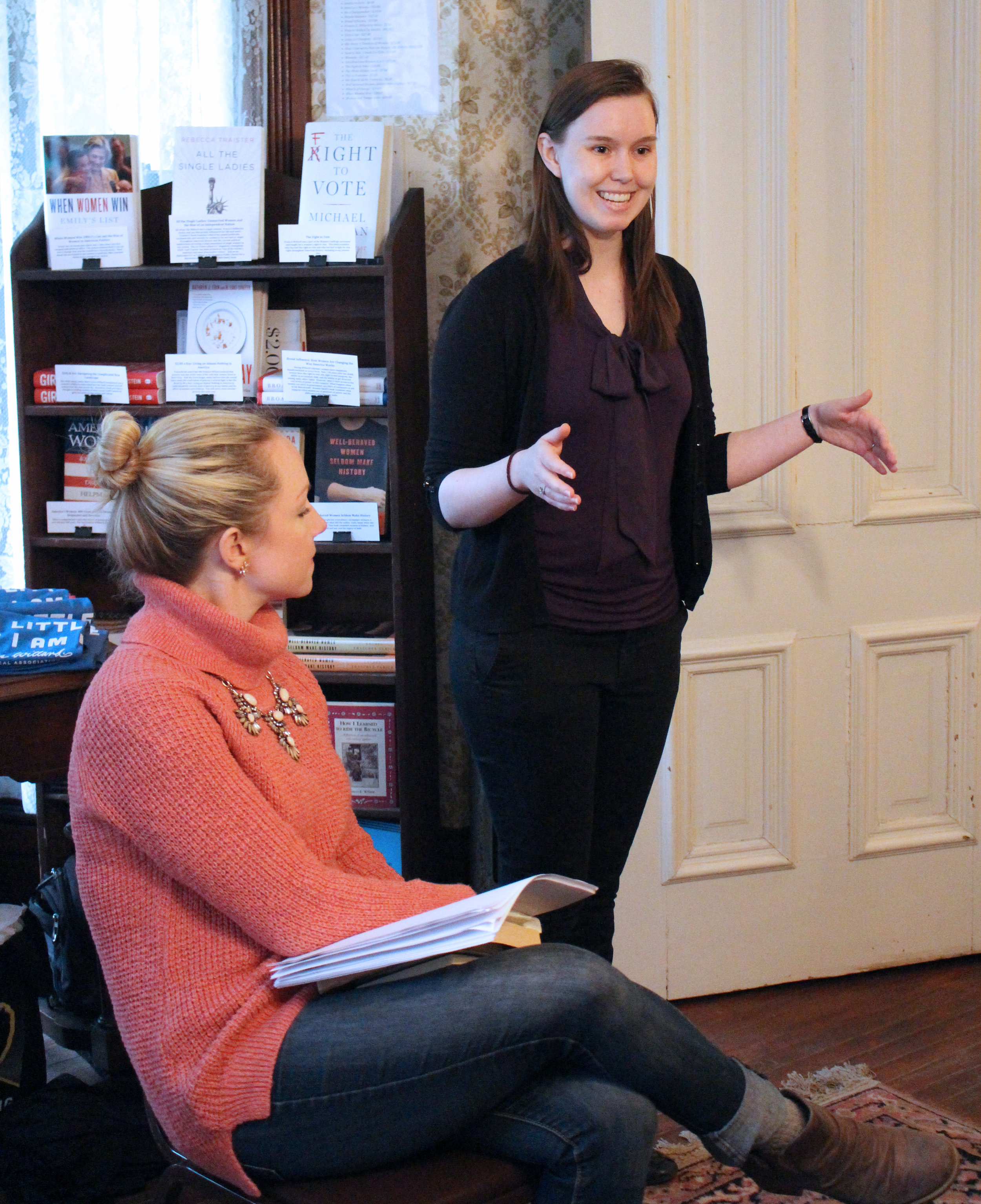 Frances Willard House Museum scholar in residence Rachel Lewis introduces the Willard House to workshop attendees. (Photo by Lynn Haller.)