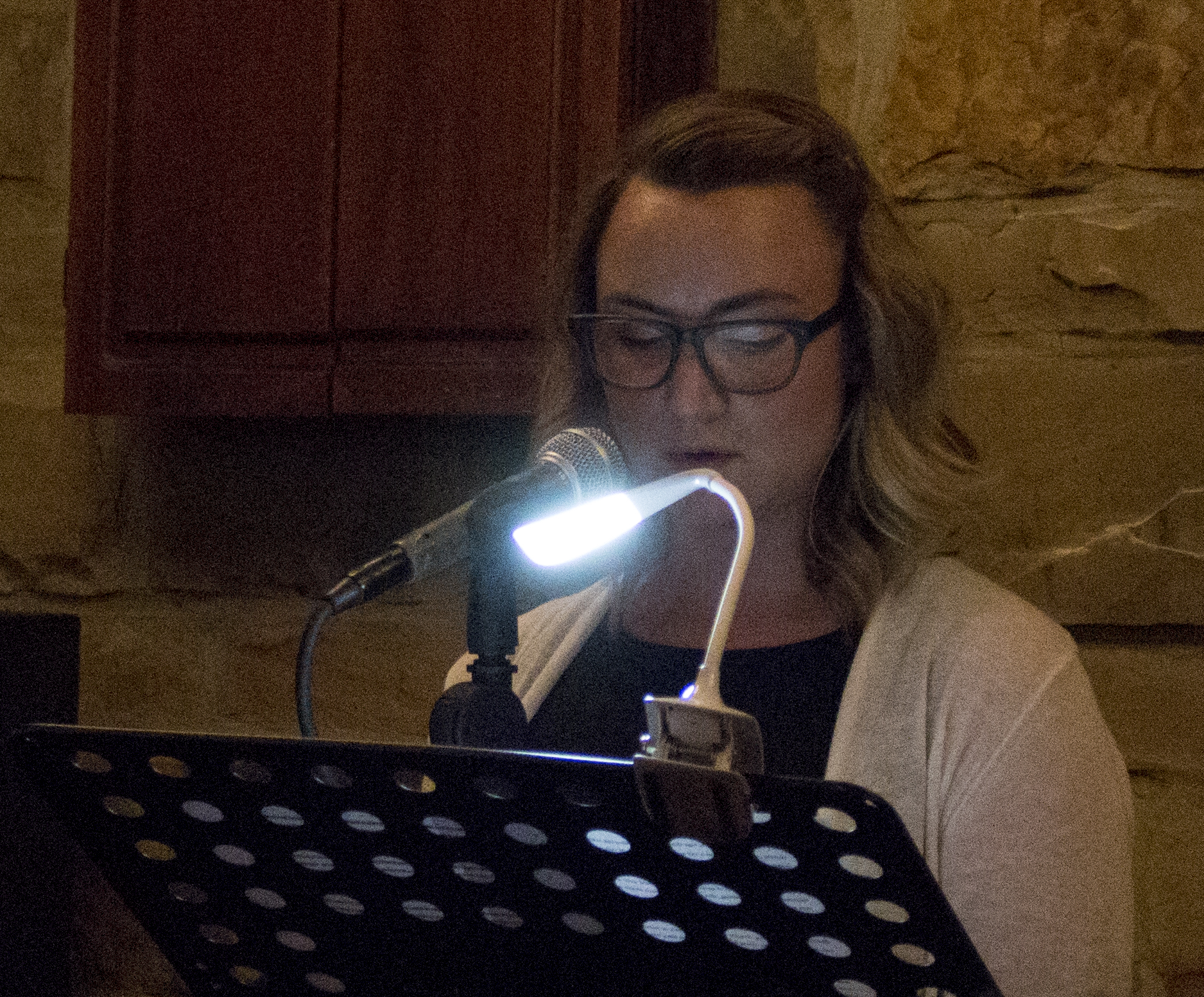 Lauryn Allison reads at the Sunday Salon pop-up at the Celtic Knot. (Photo by Lynn Haller.)