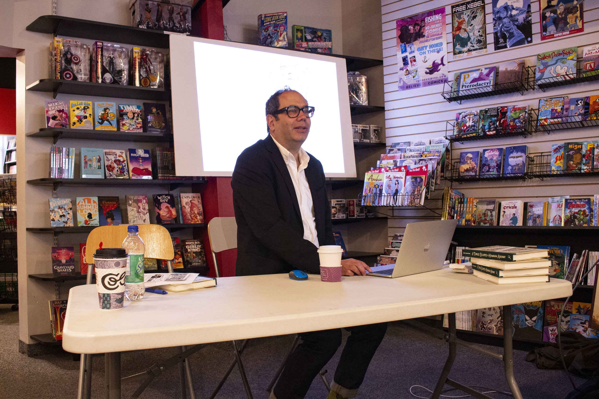 Ken Krimstein discusses his book The Three Escapes of Hannah Arendt at Comix Revolution.