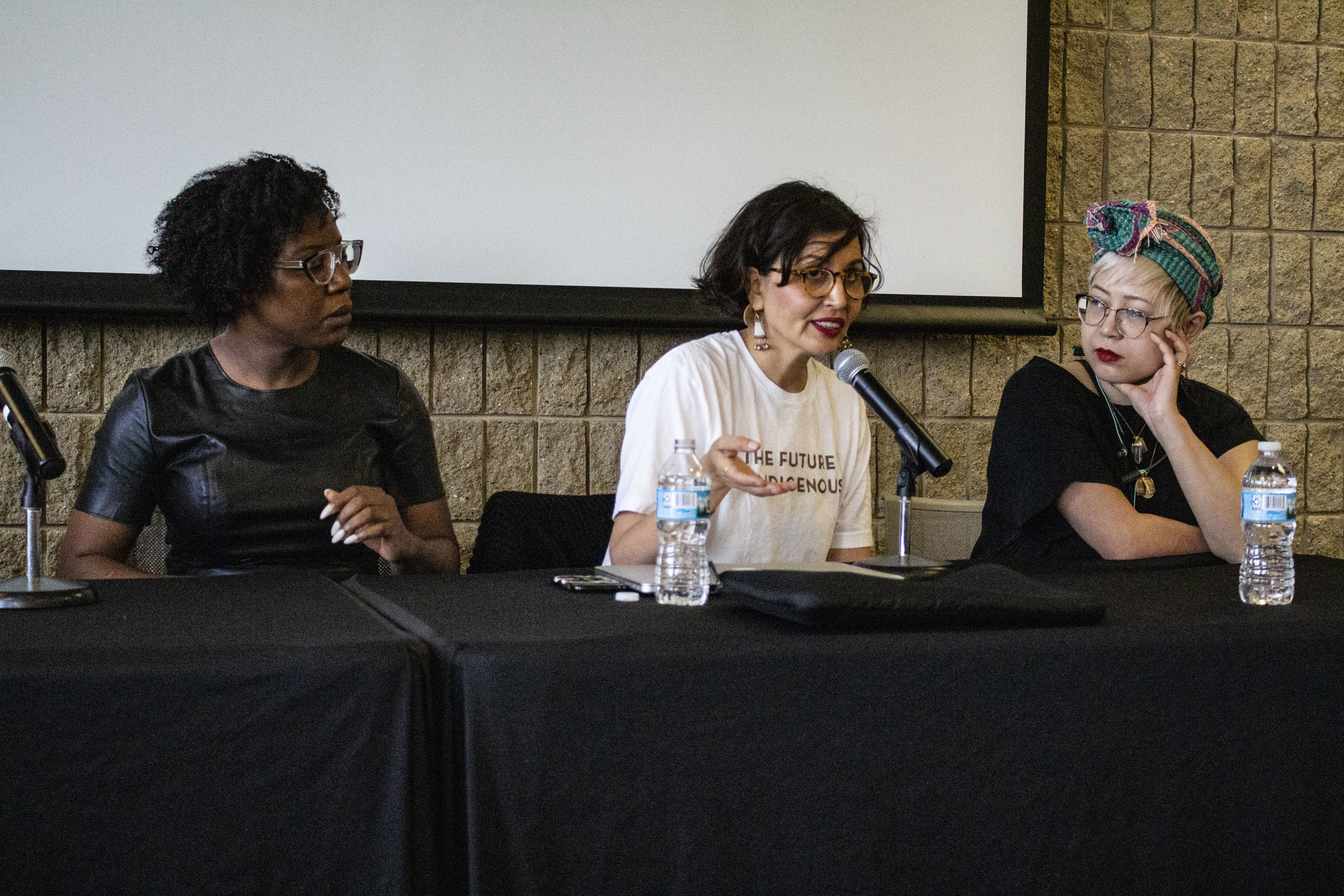 Lesley Nneka Arimah, Layli Long Soldier, and Esmé Weijun Wang at the Northwestern Spring Writers' Festival.