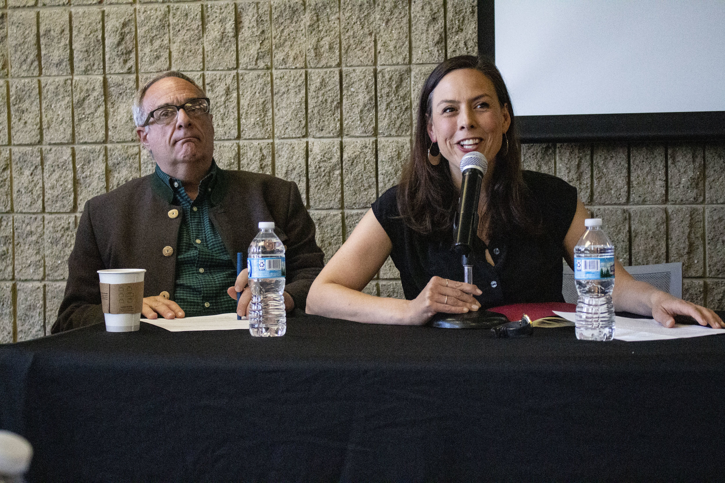 Brian Bouldrey and Rachel Webster moderate the panel discussion at the Northwestern Spring Writers' Festival.
