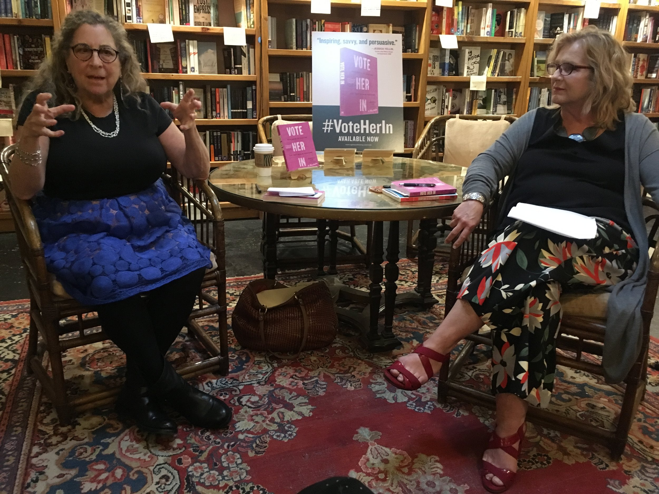 Rebecca Sive and Michele Weldon discuss Rebecca's book Vote Her In at Bookends & Beginnings.
