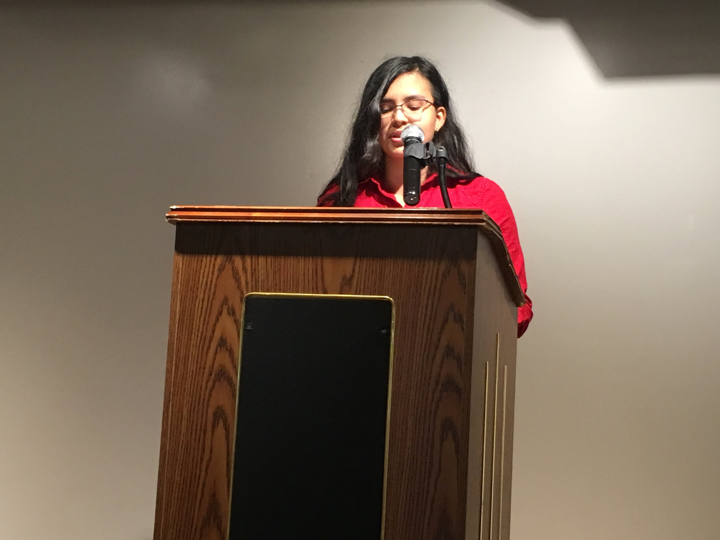 Daniela Morales reads at the Gibbs-Morrison Cultural Center.