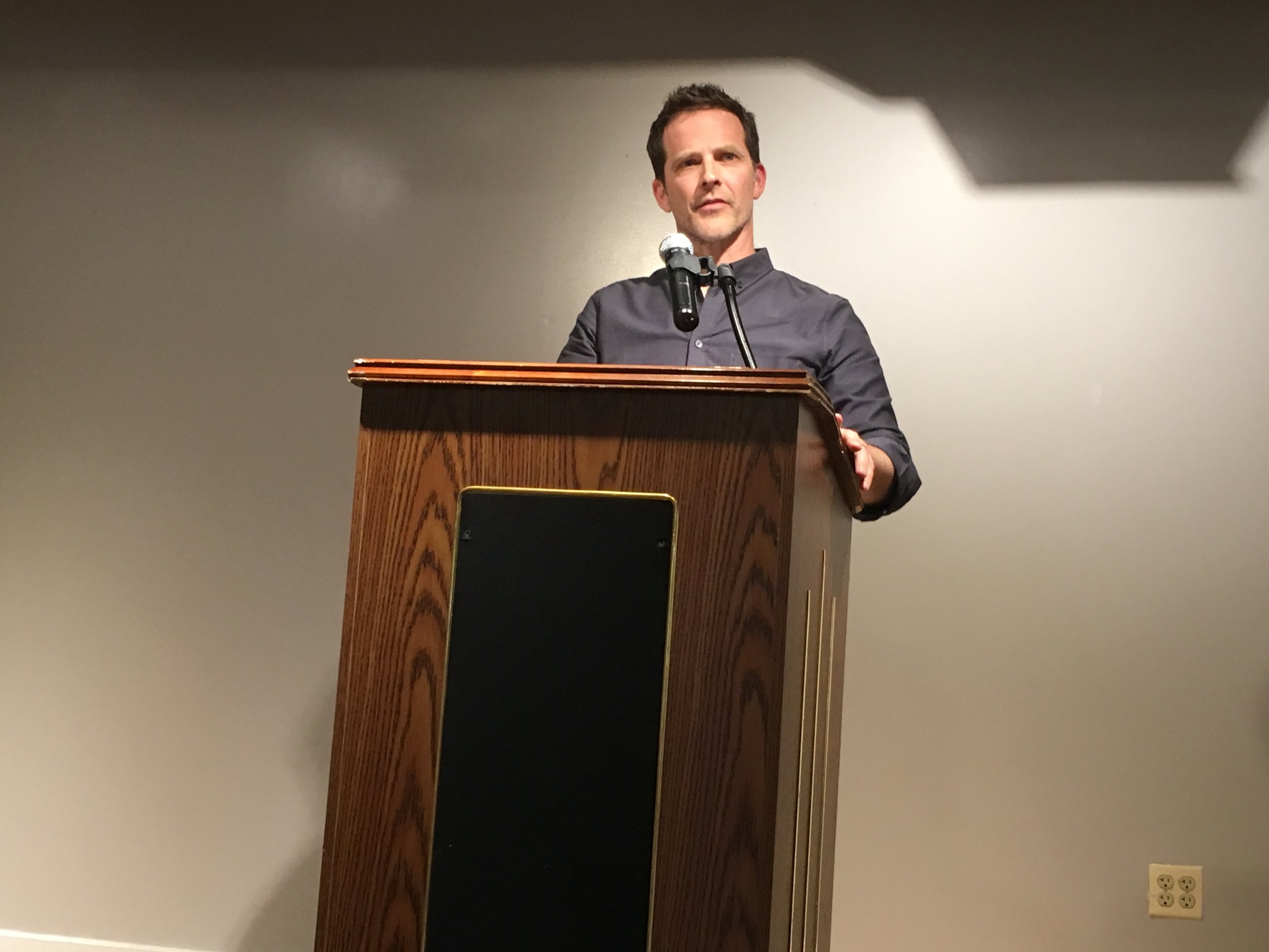 Jeremy T. Wilson reads at the Gibbs-Morrison Cultural Center.