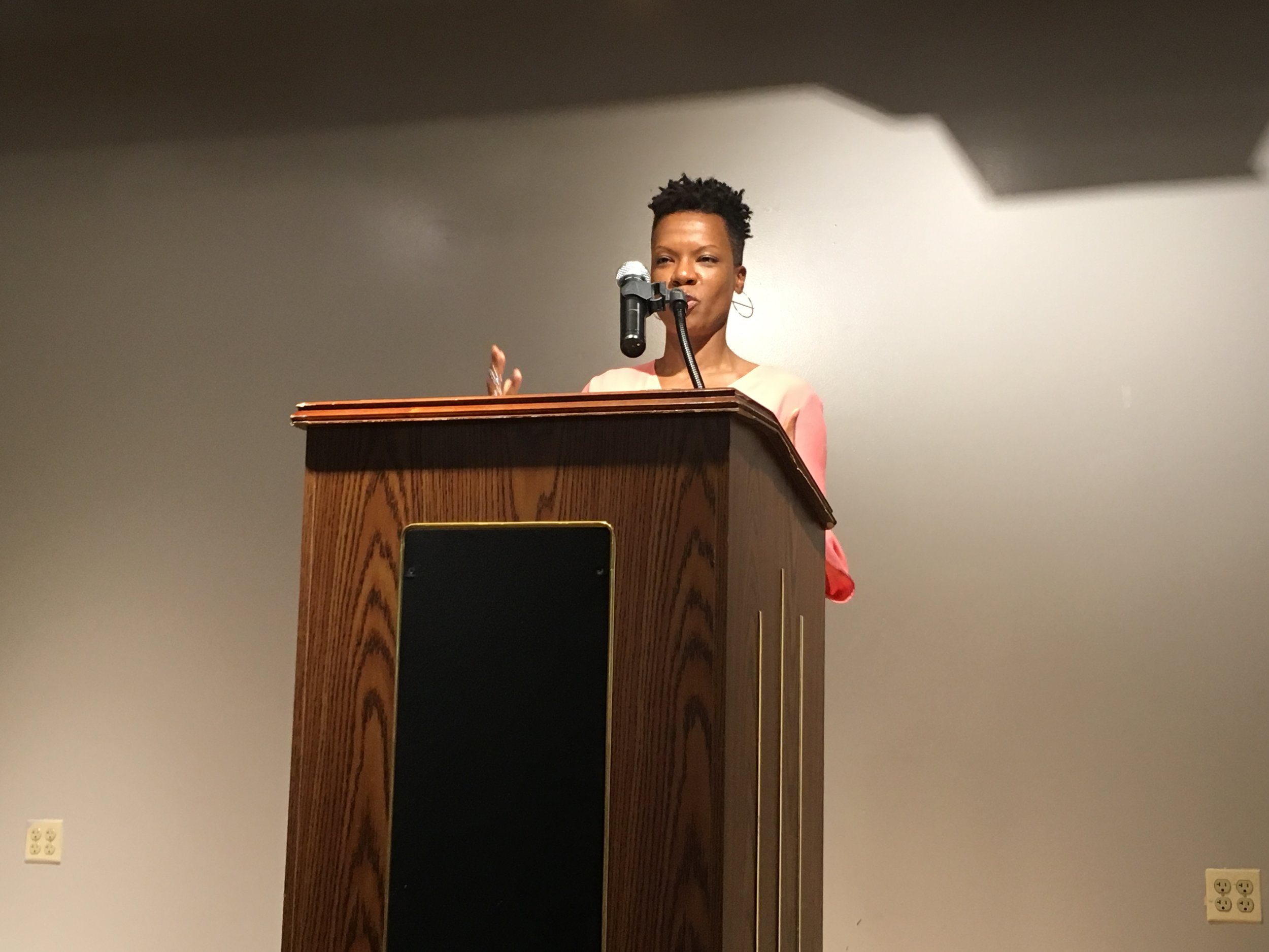 Kimberly Dixon-Mays reads at Gibbs-Morrison Cultural Center.