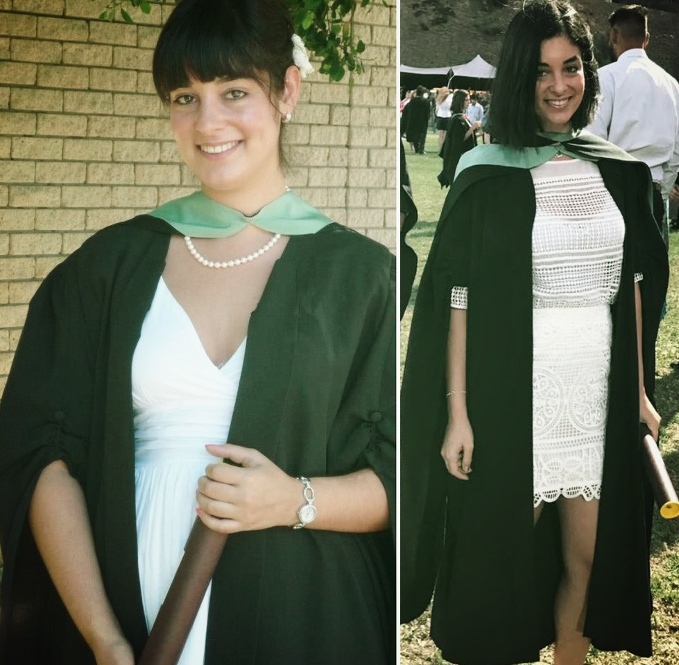 Left:  Graduating with my Bsc. in Dietetics in December 2012  Right:  Graduating with my MSc. in Nutrition March 2017