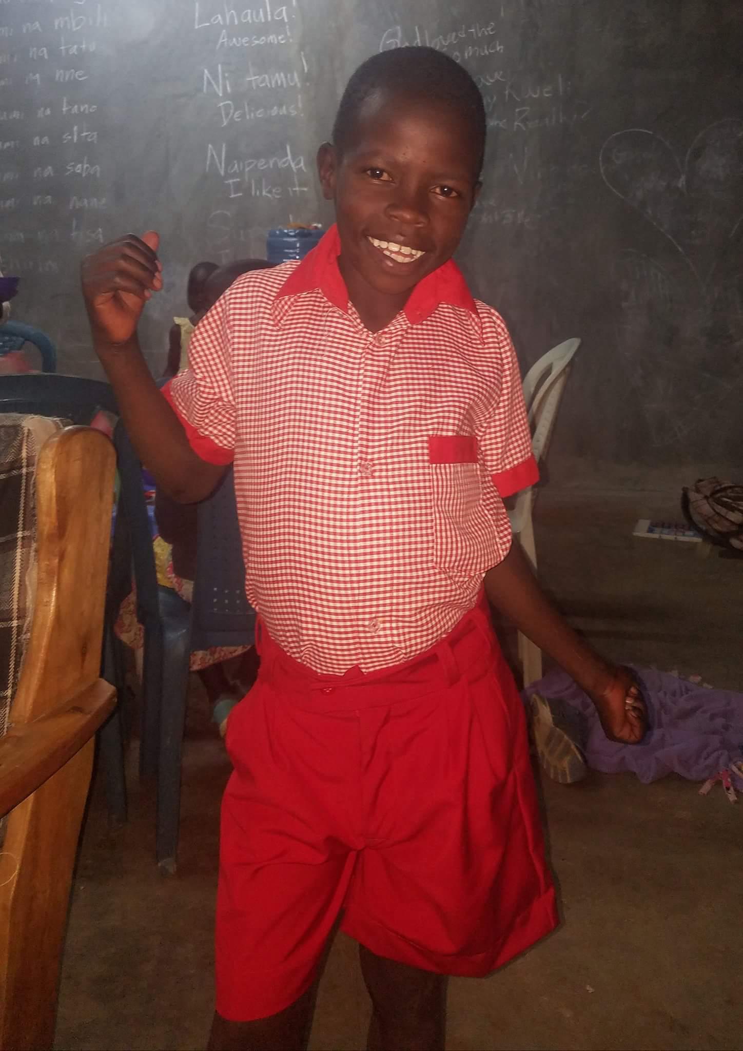 Eugene in his new school uniform!