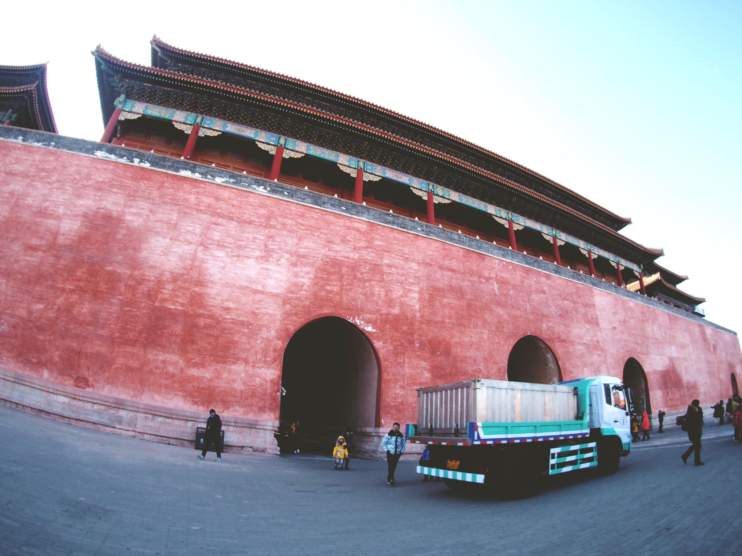 Big & red entrance.