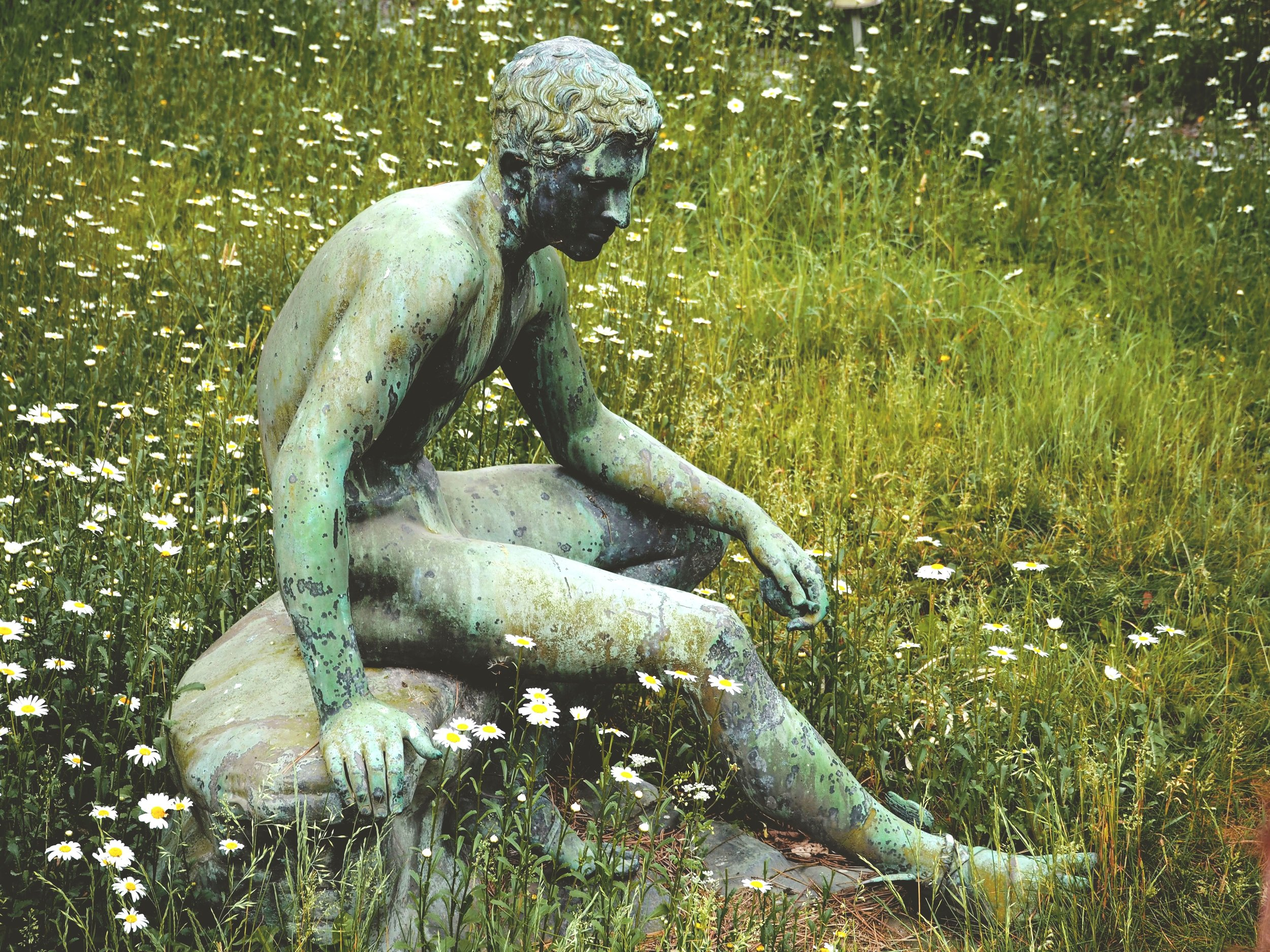 Probably a statue of a guy thinking about Trappist brews.