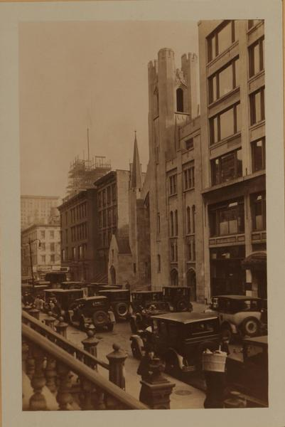 316-300 West 46th Street, west of, adjoining, and at the S.W. corner of Eight Avenue. Saint Luke's Church (Evangelical Lutheran) is in the centre.  October 22, 1927. P. L. Sperr. New York Public Library's Irma and Paul Milstein Division of United States History, Local History and Genealogy.