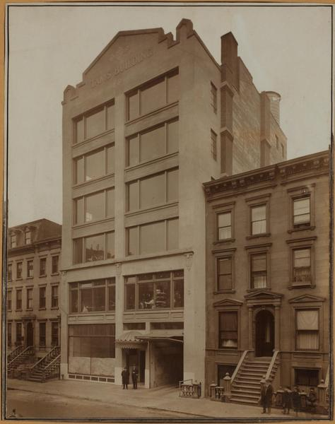 316-322 West 46th Street, south side, west of Eighth Avenue. About 1921. Publishers' Photo Service. Gift of E. M. Jenks to New York Public Library's Irma and Paul Milstein Division of United States History, Local History and Genealogy.