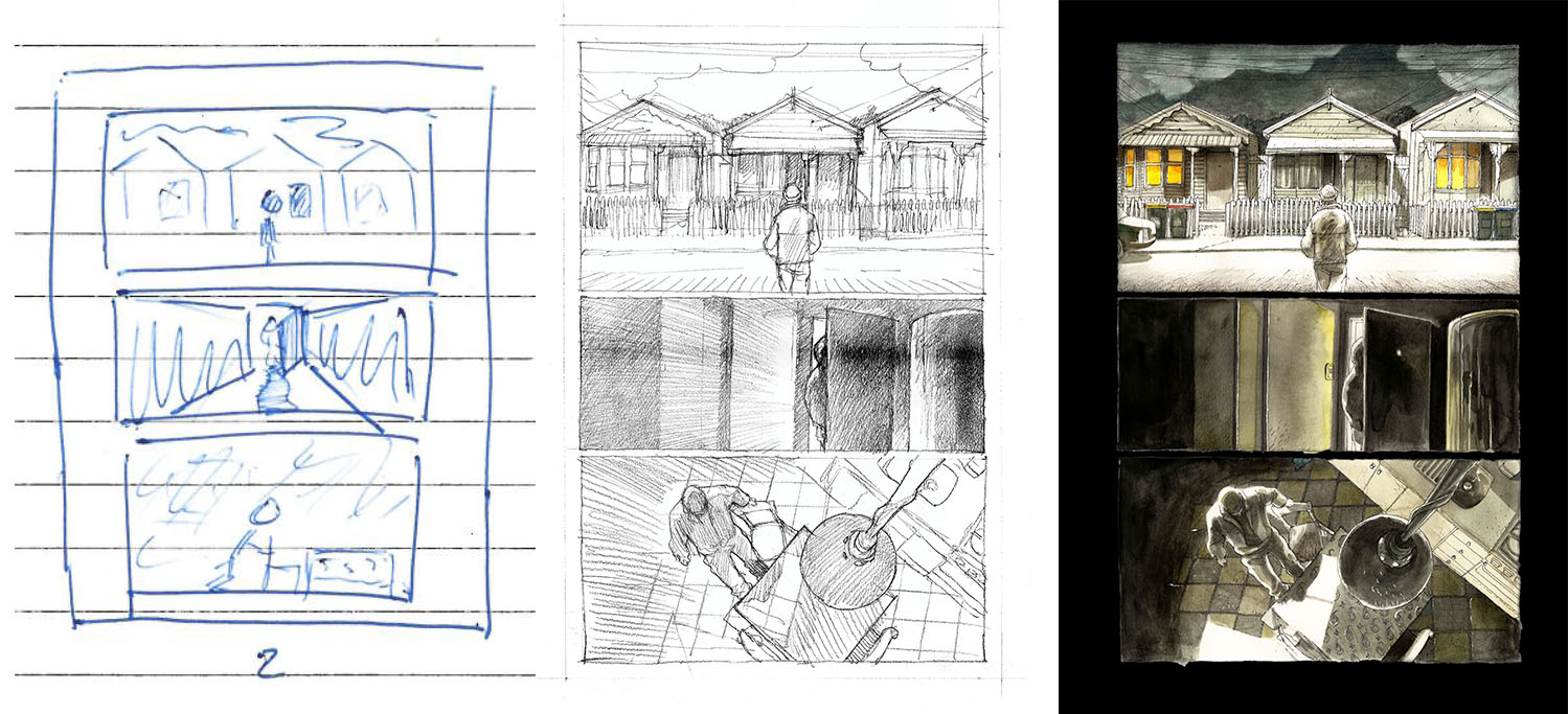 Left to right: Brent's initial sketch (never seen by Korkut); Korkut's initial pencil drawing; and final artwork