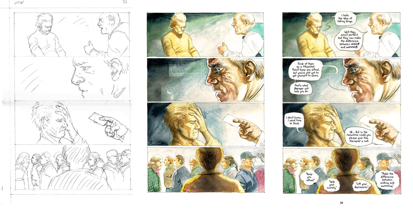 Left to right: Korkut's original pencil sketch, coloured artwork, final page with lettering.