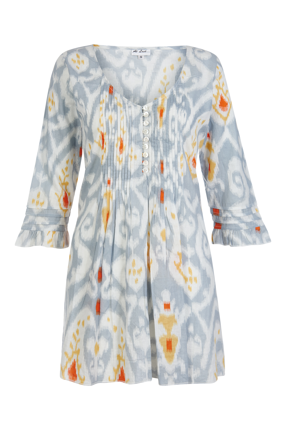 At Last Sophie No Frill - Grey / Orange Ikat