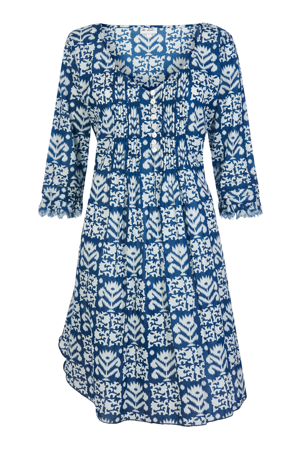 At Last Annabel No Frill - Navy and White Ikat