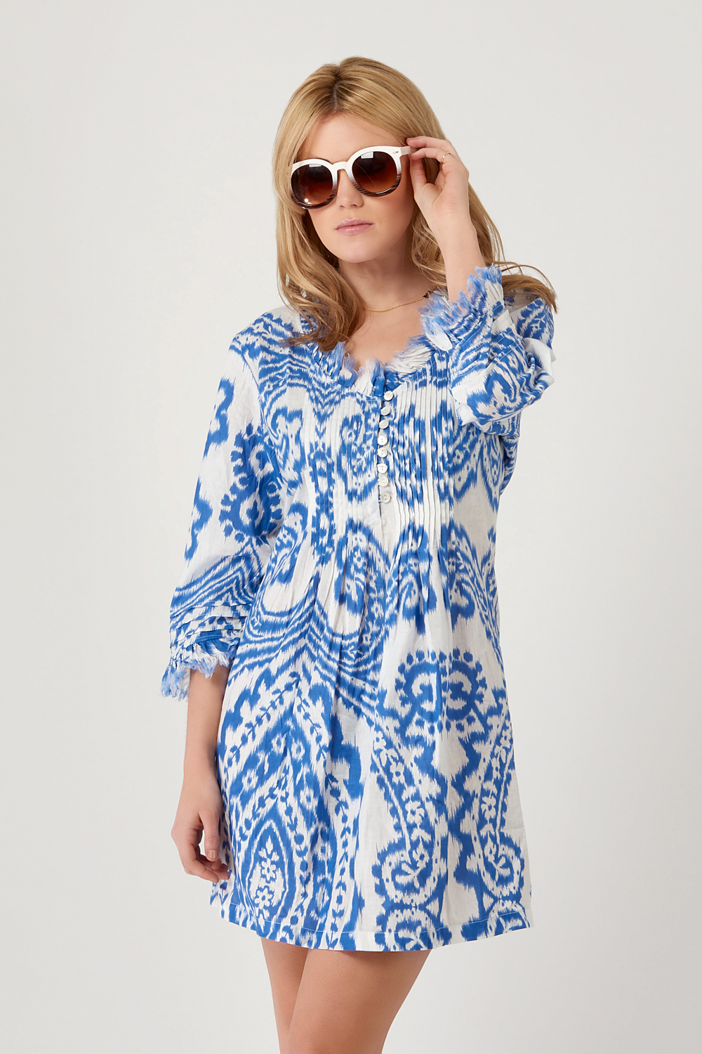 At Last Annabel - Blue Ikat