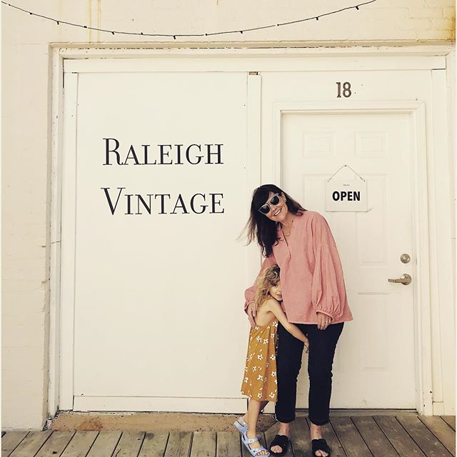 It's a beautiful day working at Raleigh Vintage!  Please stop in to shop and visit like my pal, Hazel and Ana Maria 🥰 . . . . . . . . #ericagimsondesign #shoplocal #raleighvintage #communityovercompetition