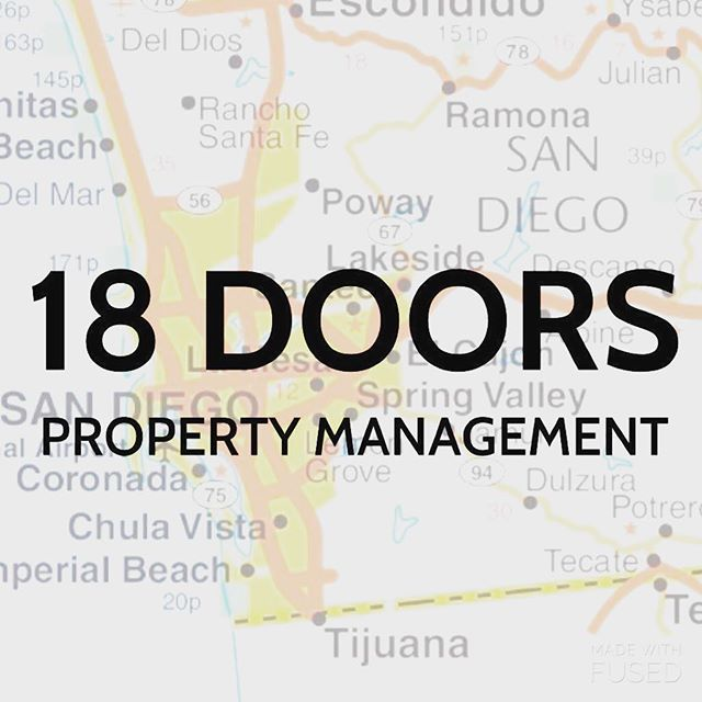 18 Doors is definitely on the map here in San Diego.  Happily serving amazing property owners, partnering with the best realtors and taking care of great tenants throughout America's finest city.  Check out 18DOORS.COM for your Monday update of available rentals.  #sandiegopropertymanagement #sandiego #18doors #propertymanagementsandiego #propertymanagementlife #sandiegorealestate