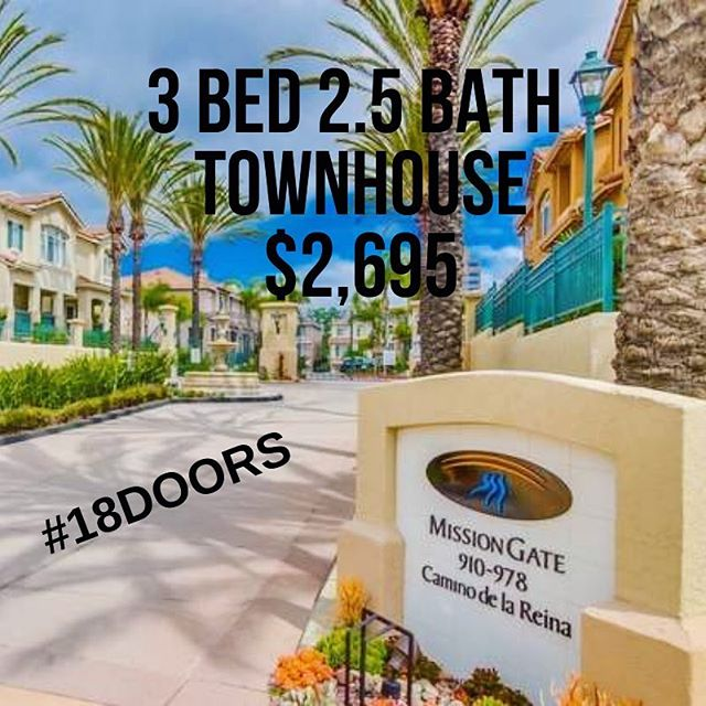 Mission Valley Take Over!  We have 2 Townhomes currently available in great communities with resort like amenities.  Check out 18DOORS.COM for the details!!! #sandiegopropertymanagement #18doors #propertymanagementsandiego #propertymanagementlife