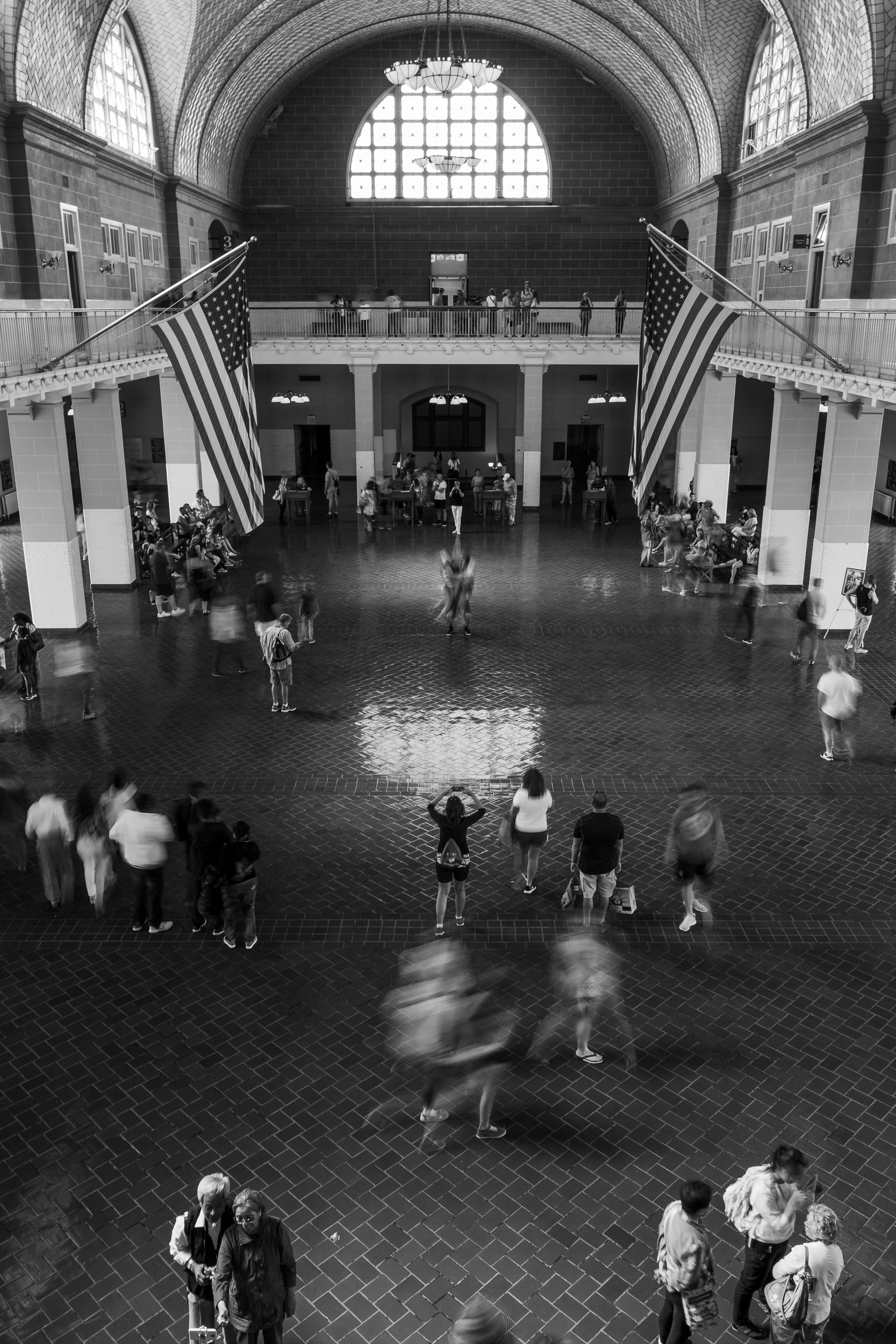 The Great Hall at Ellis Island, where immigrants were processed.