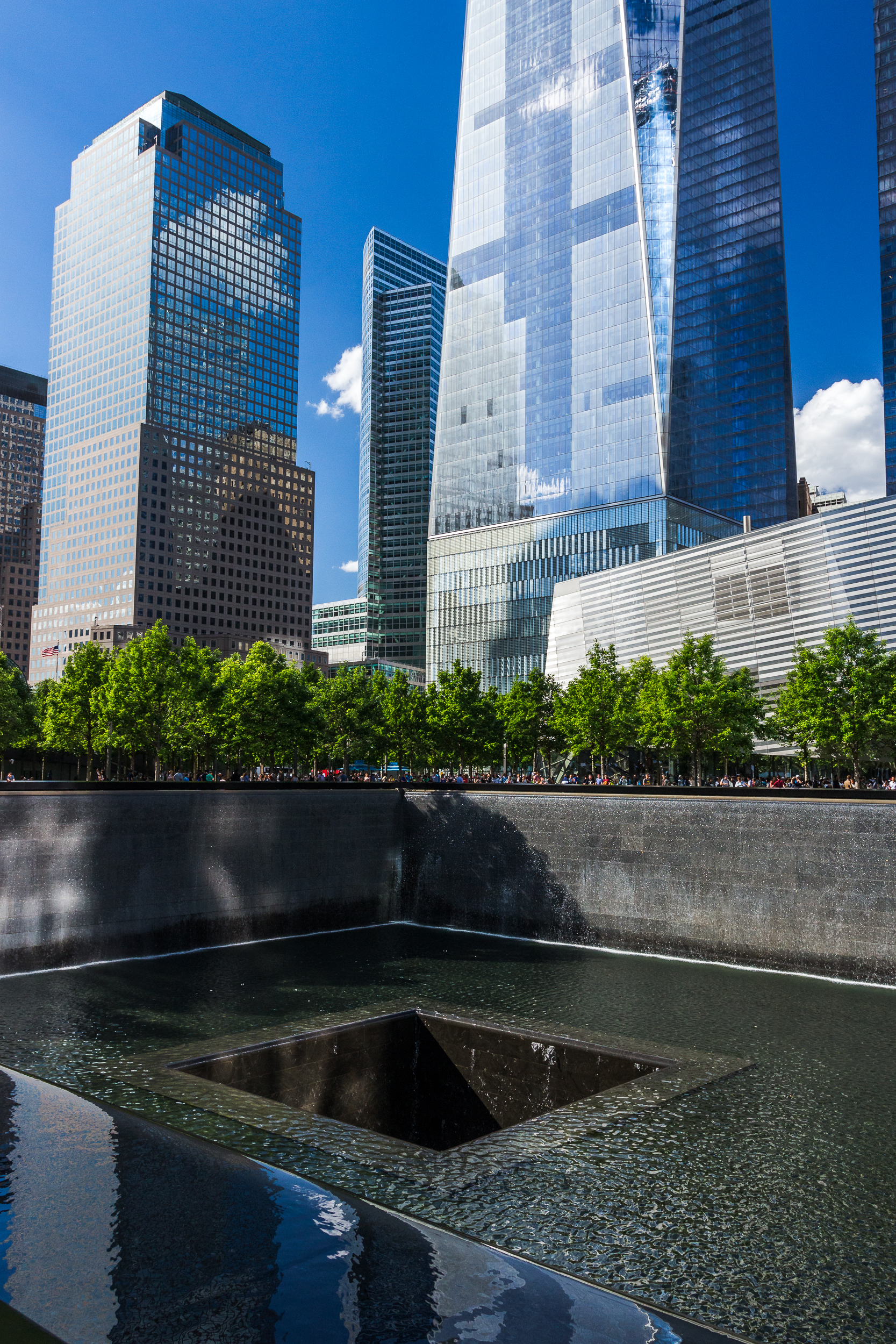 An infinity pool at one of the tower footprints at Ground Zero.