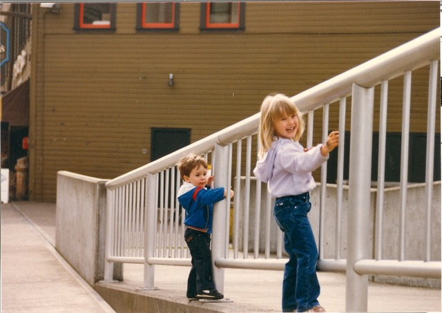 Co-founder Jen and her little brother in some sweet jeans, 1986
