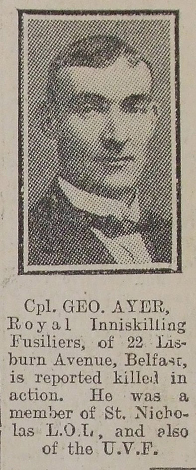 Cutting from the Belfast News Letter  31 August 1914.  Courtesy of History Hub Ulster