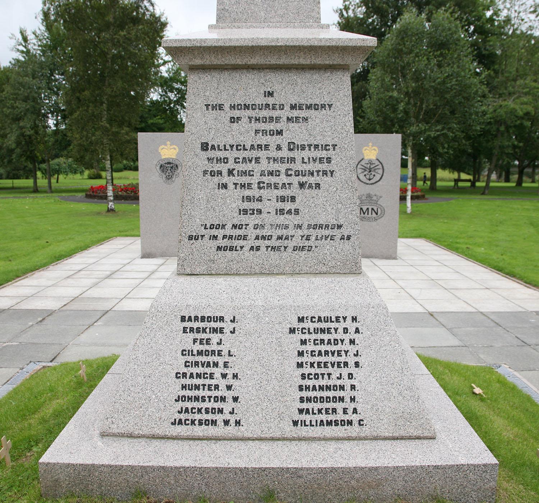 Ballyclare War Memorial - South Face