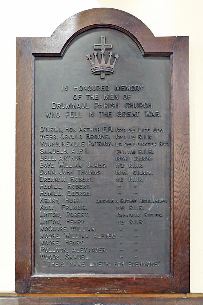 War Memorial Plaque in Drummaul Parish Church, Randalstown