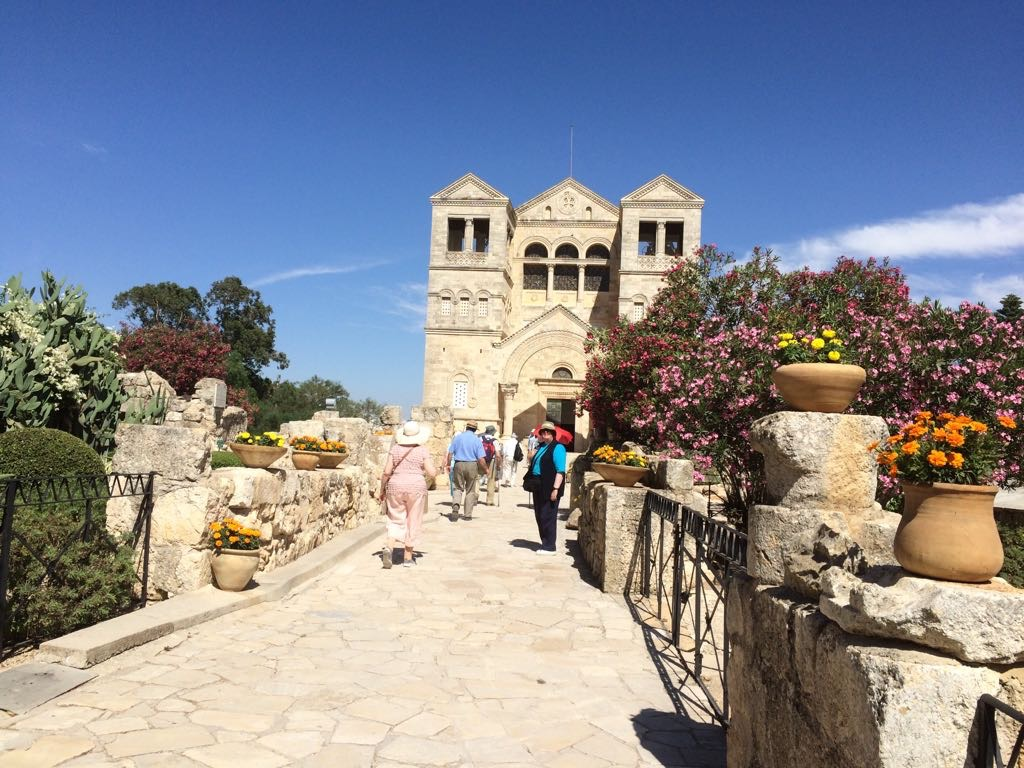 Group walking up to the Church of the Transfiguration