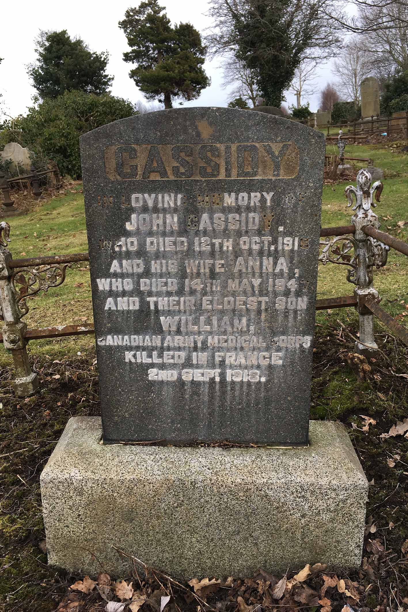 Family headstone in Belfast City Cemetery