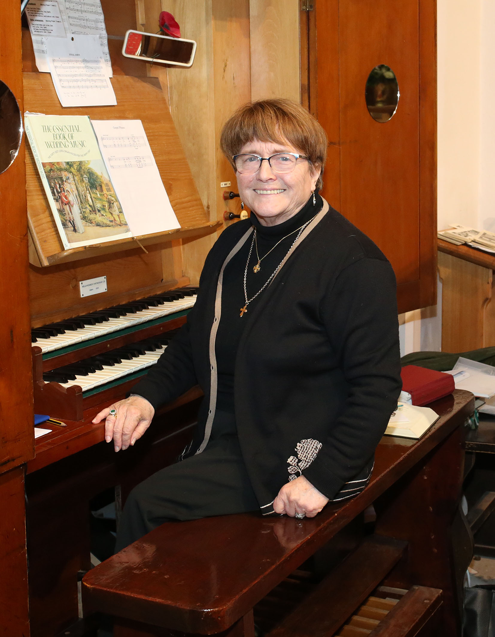 Valerie Ireland enjoying her temporary role as church organist at today's family service.