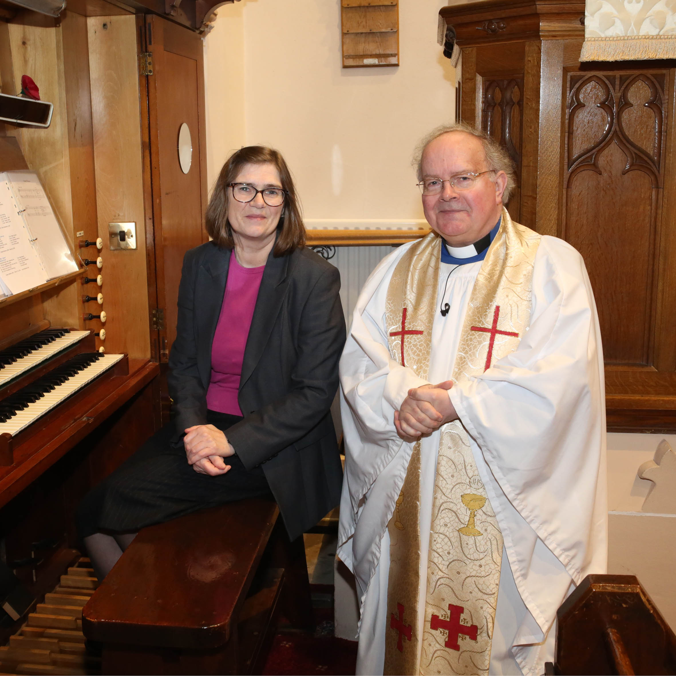 Denise Martin with the rector of St Bride's, Rev. Canon David Humphries