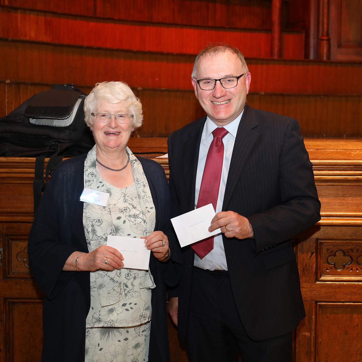 Jacqueline Weir and David Holmes with their prizes