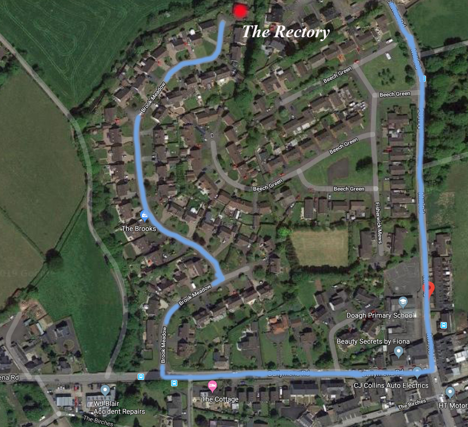Map of Doagh with the new Rectory highlighted in red and the route from the church shown in blue (map courtesy of Google).