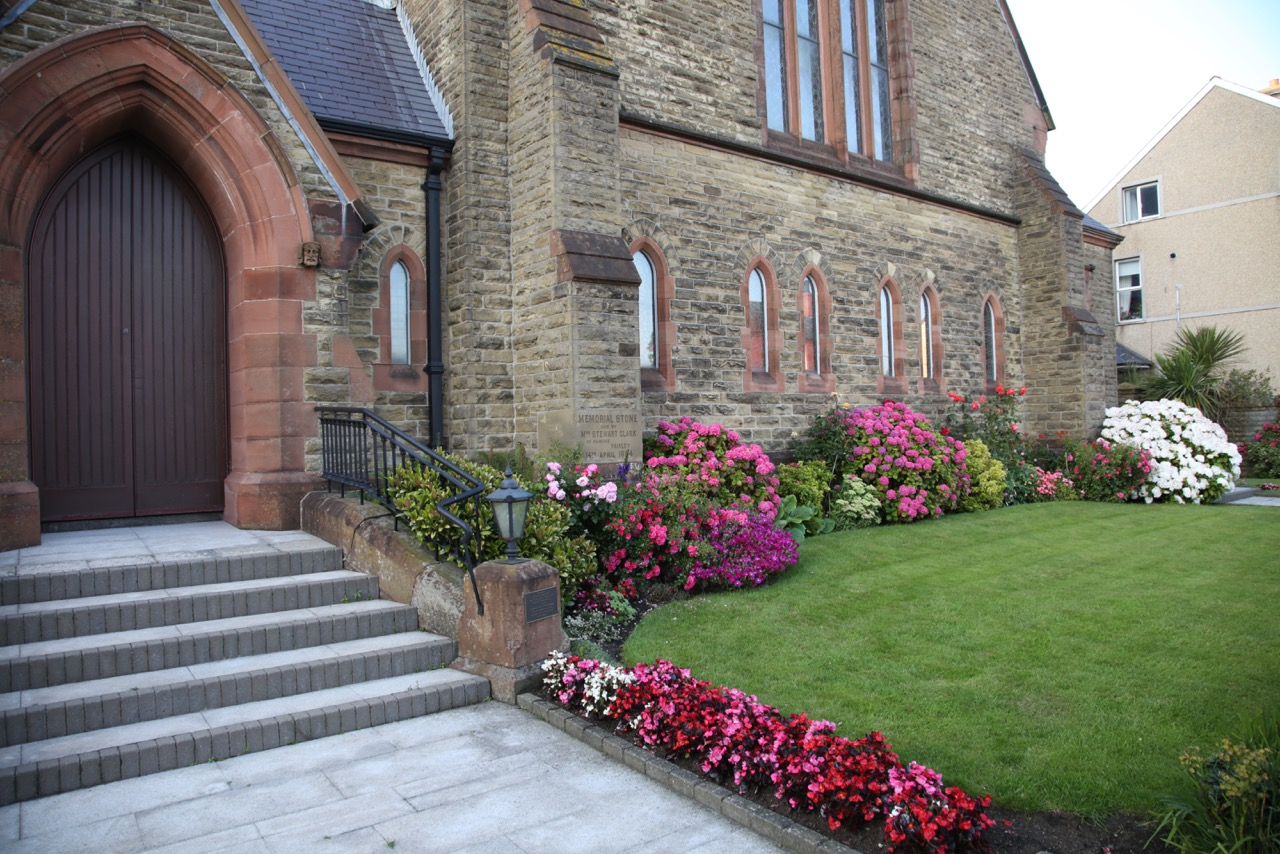 Immaculate gardens in front of Larne Methodist church
