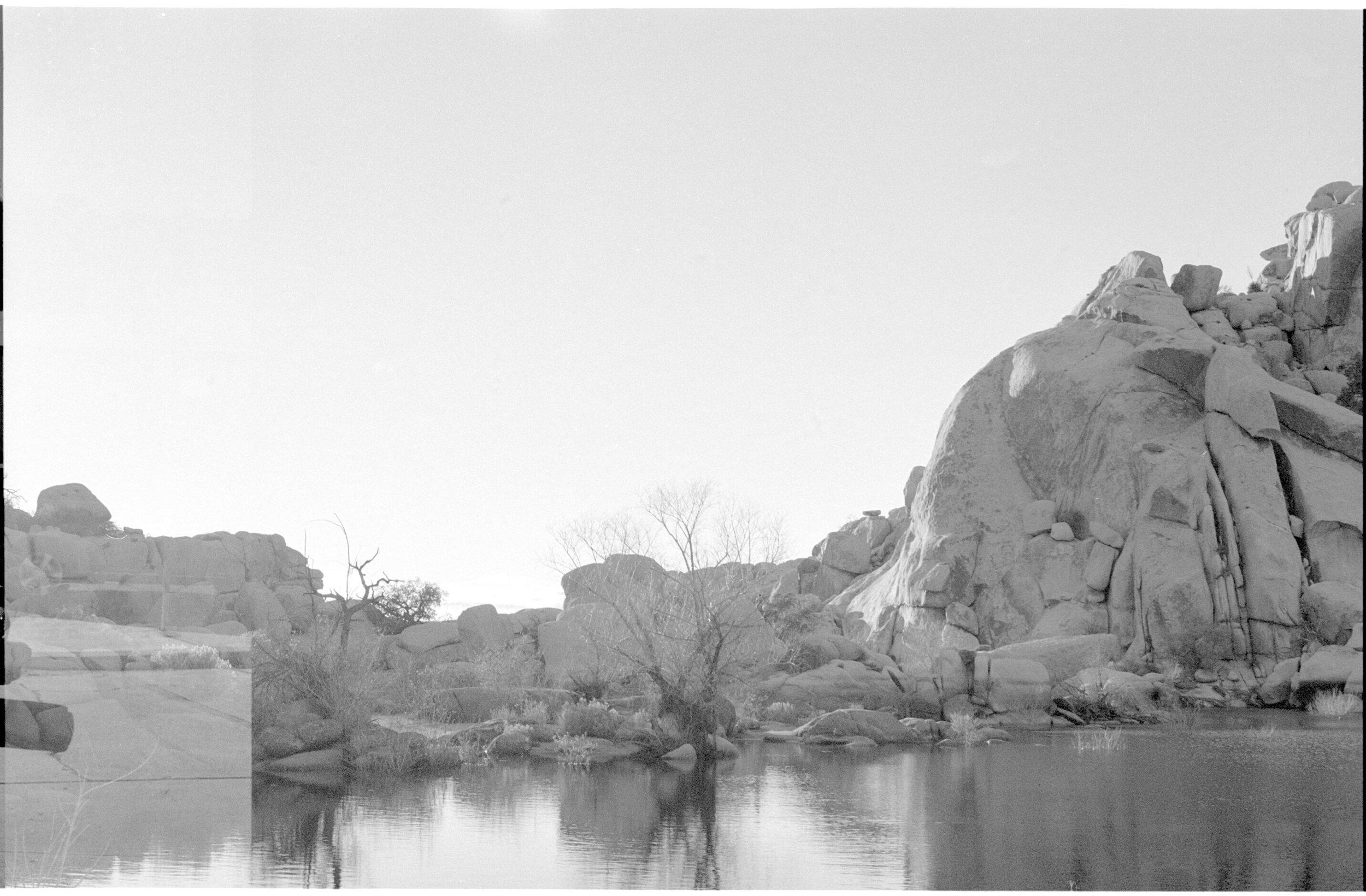 joshua tree, double exposure- lake and wheels