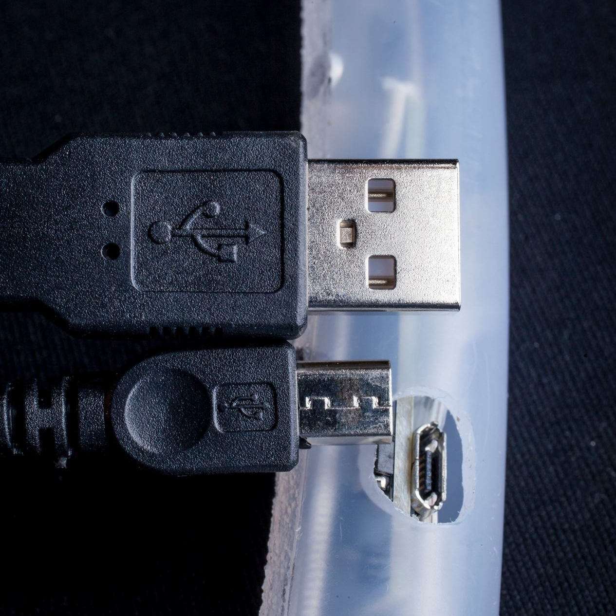 Recessed button and USB charge port