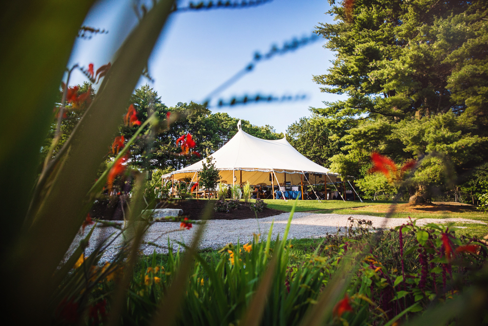 Beautiful outdoor garden wedding venue, under a tent. Located minutes from Manchester in Southern NH.
