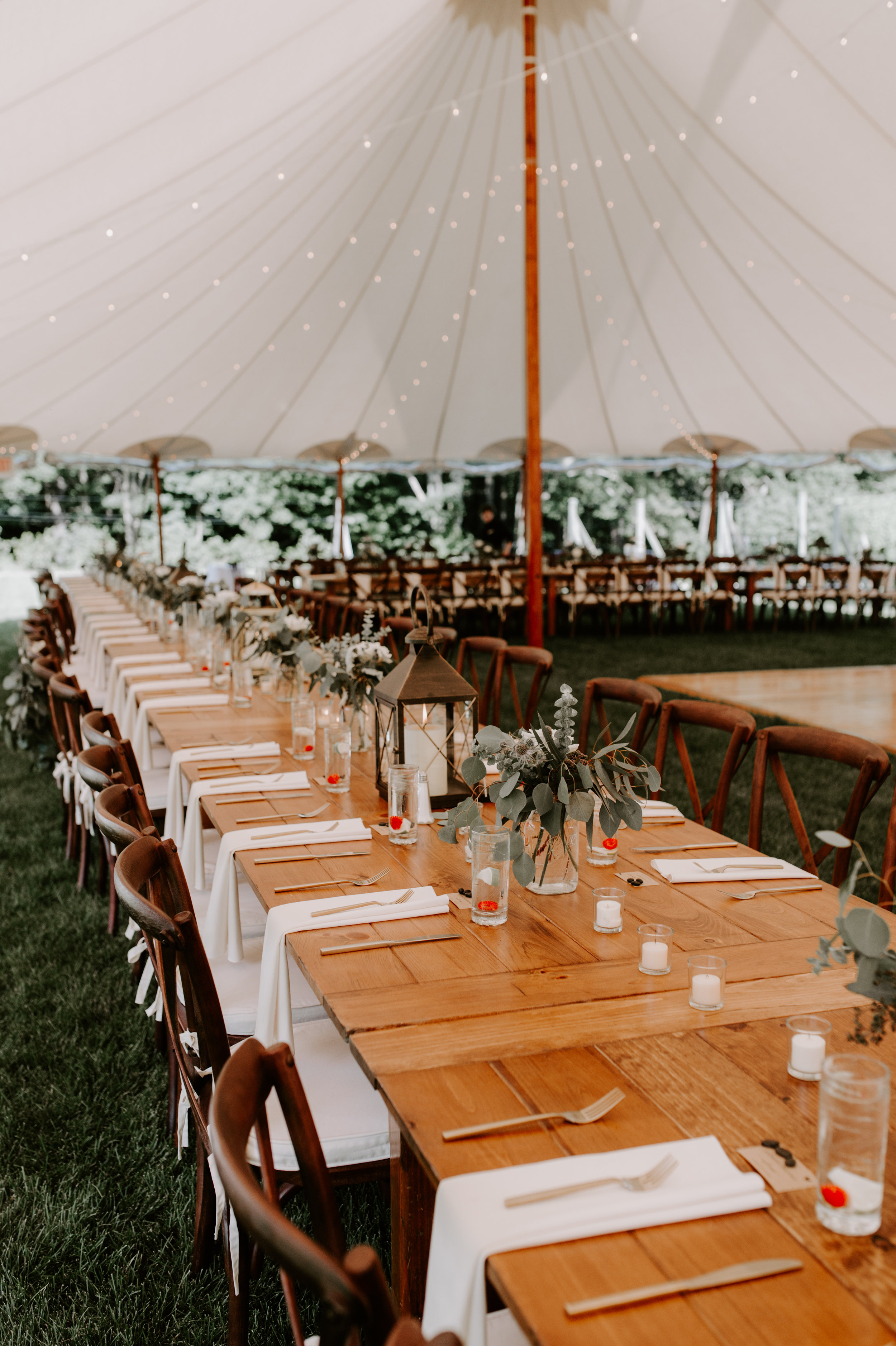 Sperry Sailcloth Tent - For larger receptions, we offer high-quality event tents, lighting, and rentals.