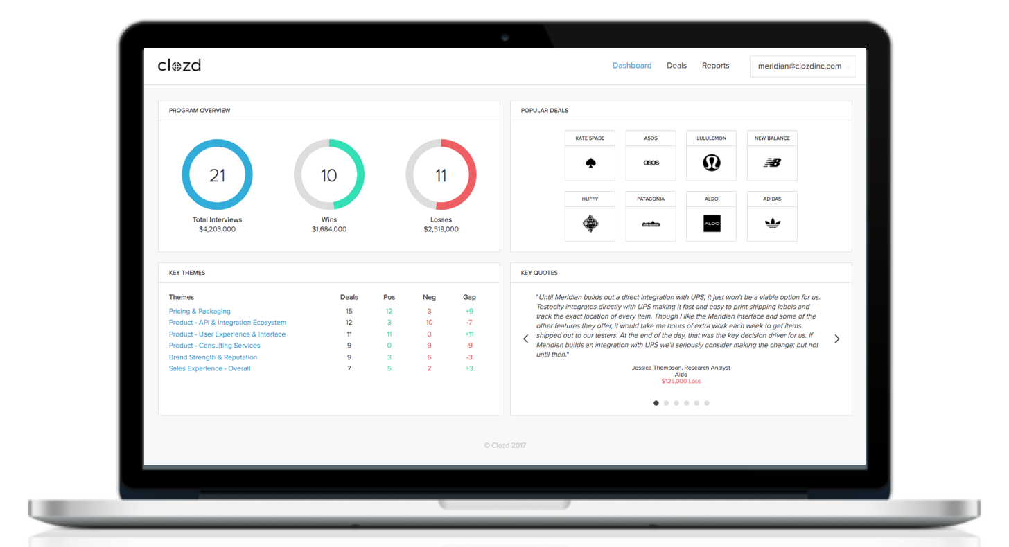 Clozd offers innovative software easy sharing of win-loss findings.
