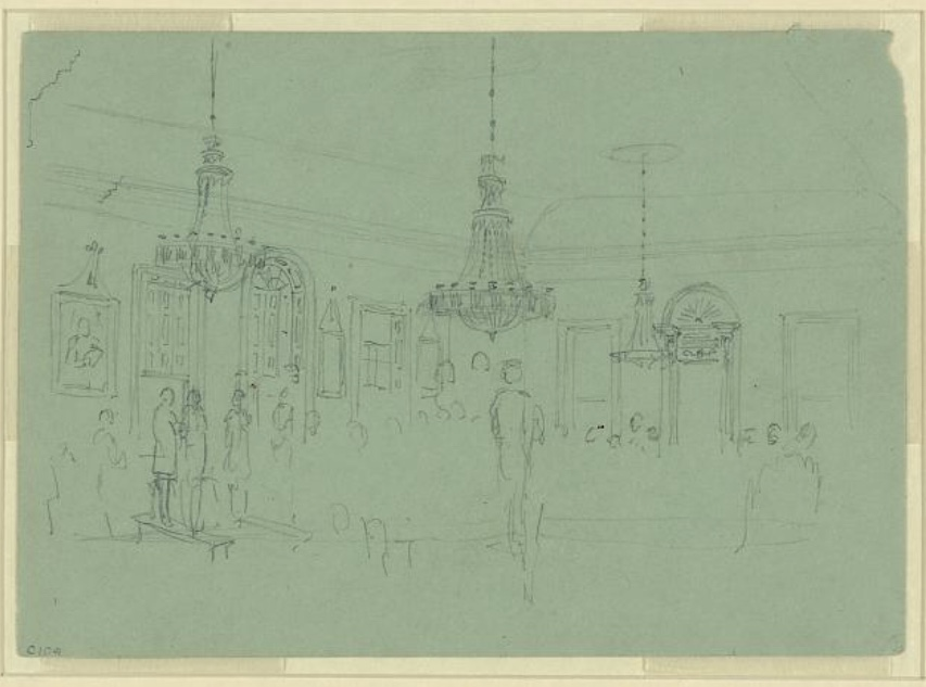 Alfred R. Waud, 1828-1891 [Ballroom with figures] Pencil drawing on blue-green paper 12.4 cm x 17.7 cm