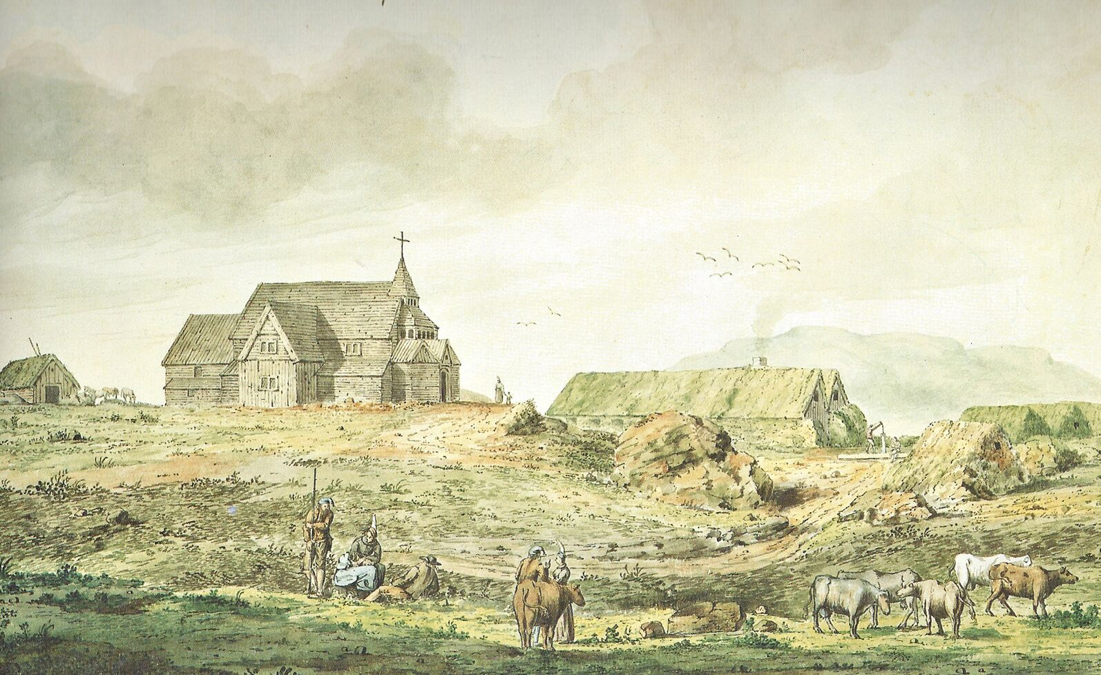 The Cathedral at Skálholt. Painting by John Clevely, Jr.