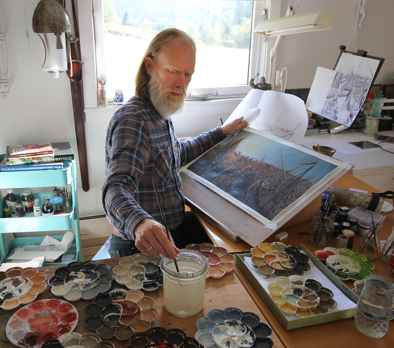 Artist Anders Kvåle Rue in his studio.