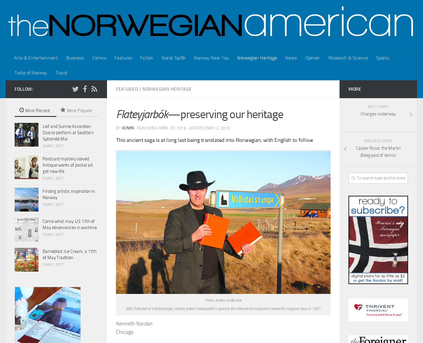 Flateyjarbok feature in the Norwegian American - https://www.norwegianamerican.com/featured/flateyjarbok-preserving-our-heritage/