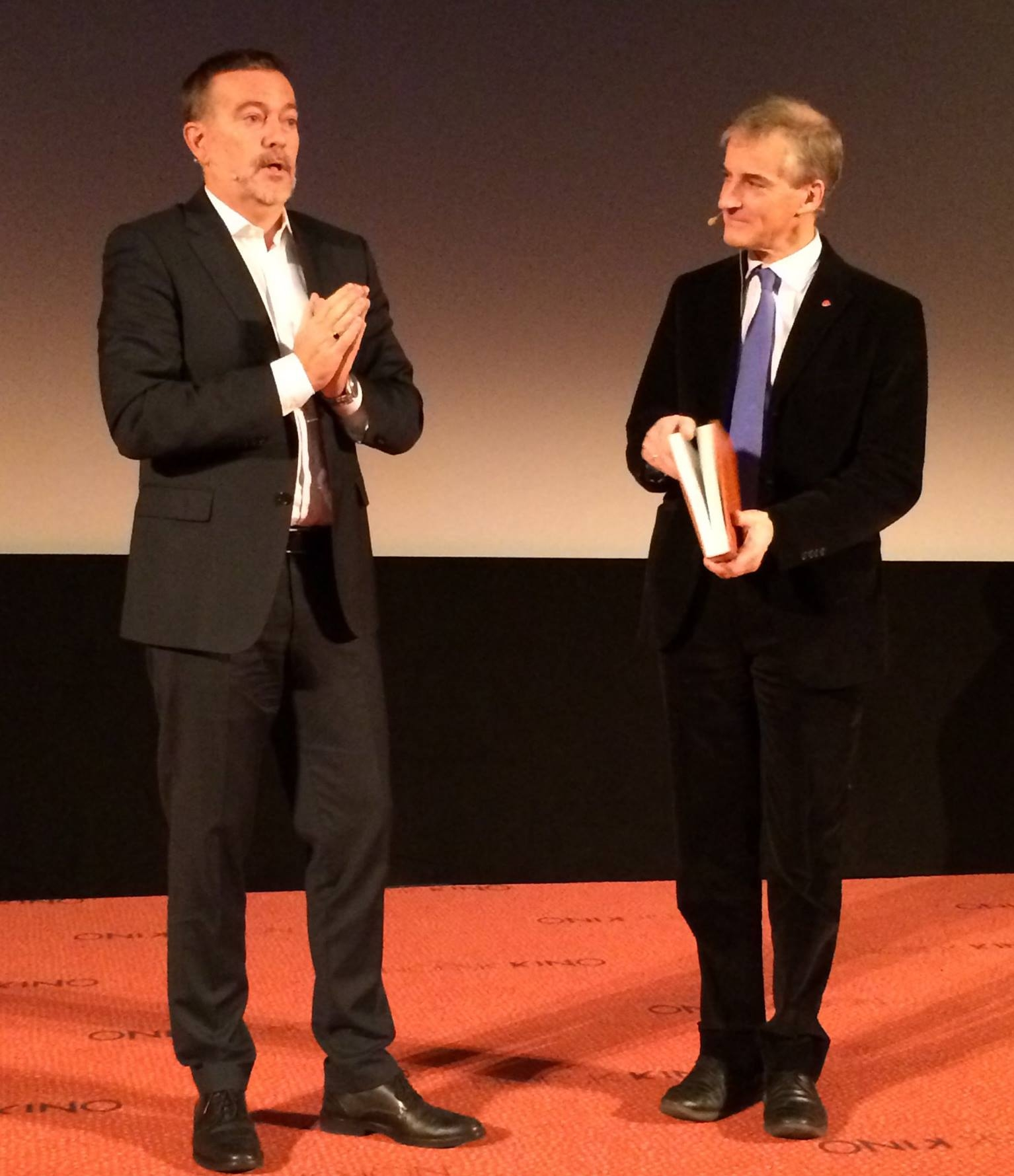 Norwegian Labour Party leader Jonas Gahr Støre with Flateyjarbok.