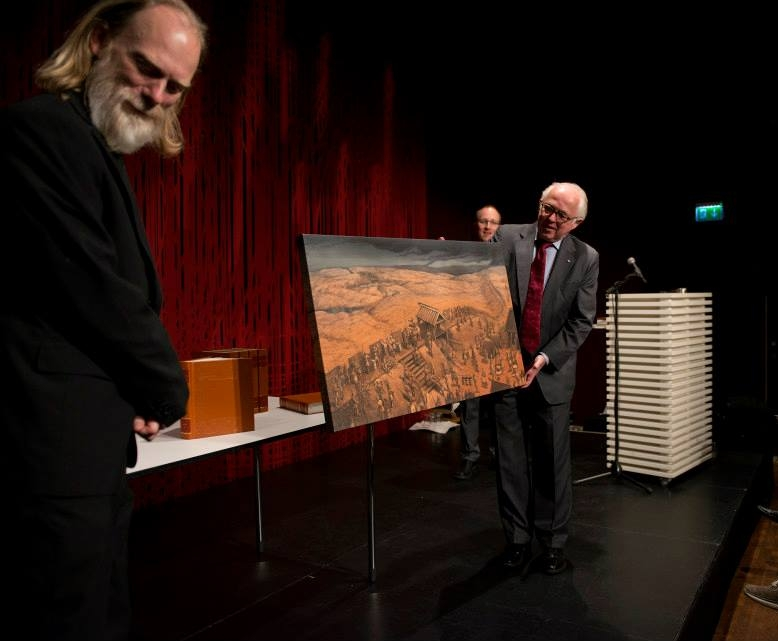 """Danish ambassador to Norway, Torben Brylle accepting an exclusive reproduction of Anders Kvåle Rue's painting """"Danevirke"""" on behalf of Her Majesty Queen Margrethe of Denmark."""