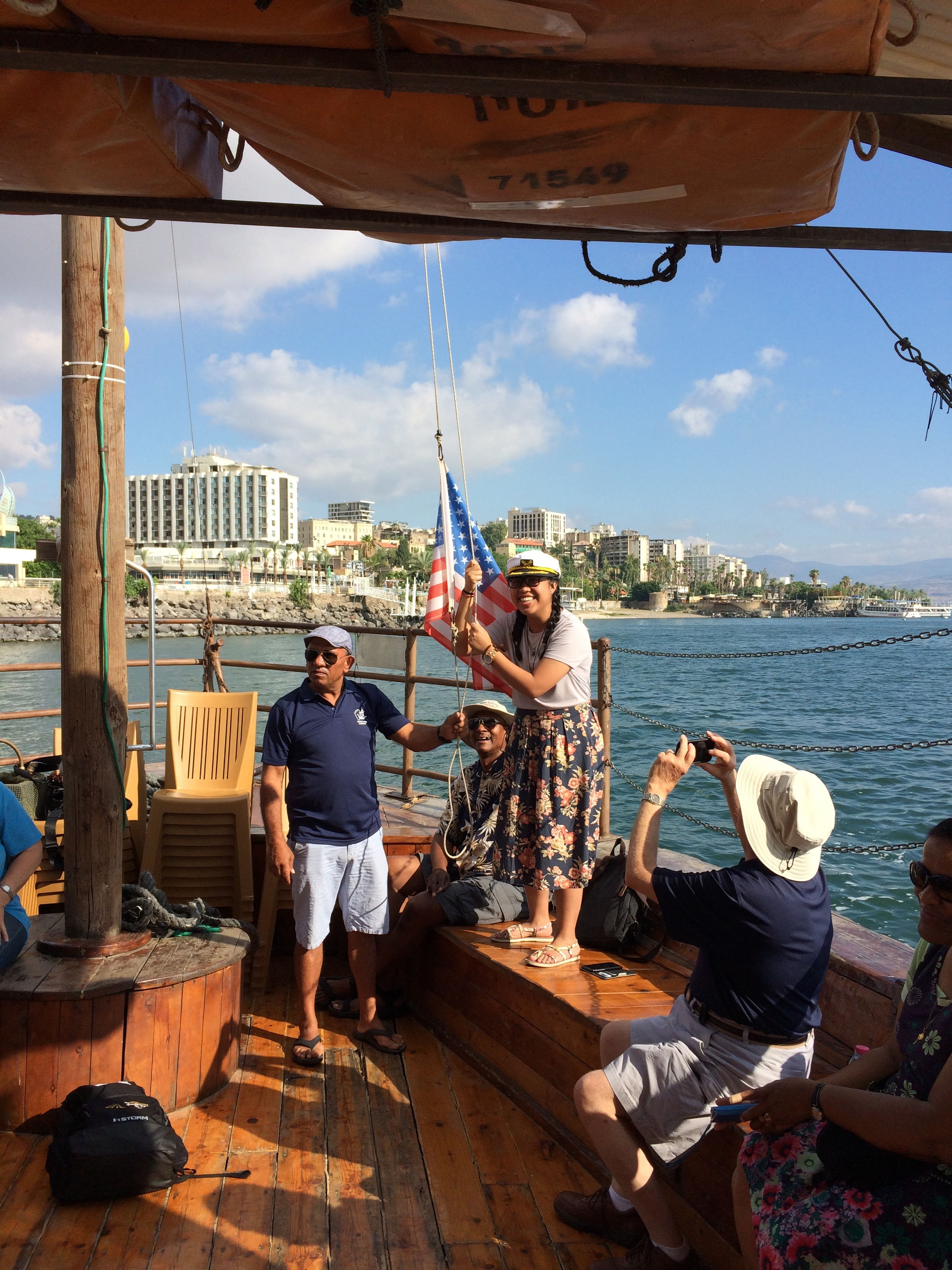 A patriotic moment on the Sea of Galilee.