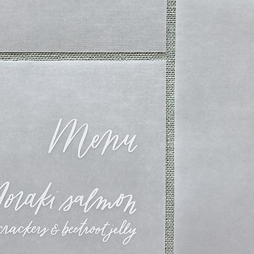 Wedding Invitations & Stationery | The Ess Letter | Vellum menus with white ink