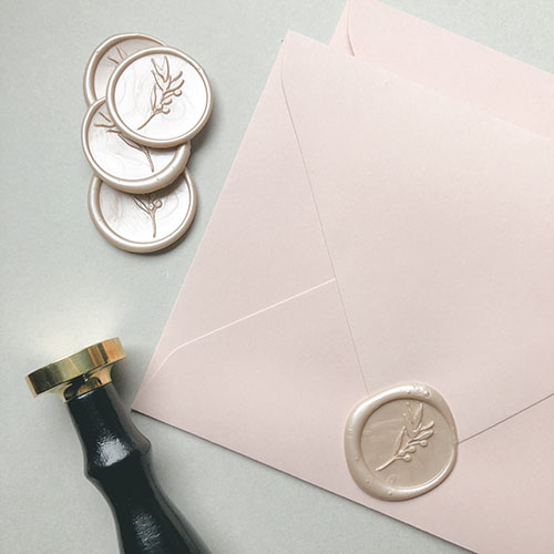 Wedding Invitations & Stationery | The Ess Letter | Blush wedding envelopes and wax seals